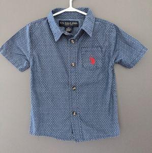 Blue button down short sleeved dress shirt